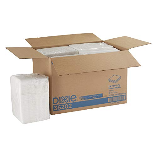 Dixie 1/4-Fold 2-Ply Dinner Napkin (Previously Acclaim) by GP PRO (Georgia-Pacific), White, 36202, 500 Napkins Per Pack, 8 Packs Per Case
