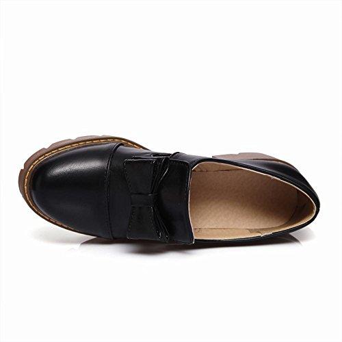 Mee Shoes Damen chunky heels Plateau Geschlossen Pumps Schwarz