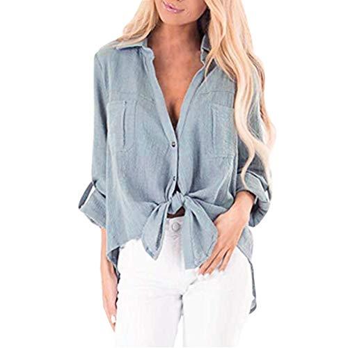 - Sttech1 Women Summer Casual Long Sleeve V-Neck Tie Knot Front Button Down T-Shirt Tops Light Blue