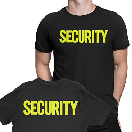 NYC FACTORY Security T-Shirt Front Back Print Mens Tee Staff Event Uniform Bouncer Screen Printed (Black-Neon, Medium) -