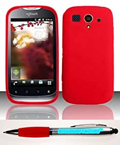 Accessory Factory(TM) Bundle (the item, 2in1 Stylus Point Pen) For Huawei myTouch U8680 (T-Mobile) PREMIUM Silicon Skin Case - Red SC Soft Silicone Jelly Rubber Phone Protector Cover