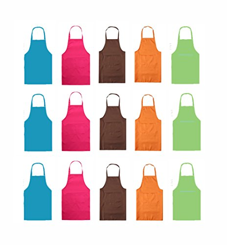 TSD STORY Total 15 PCS Plain Color Bib Apron Adult with 2 Front Pocket (Mixed2)