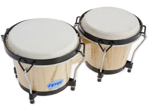 (Fever Tunable Bongos 8 & 7 Inch with Black Rims Natural Finish, 823-NT)