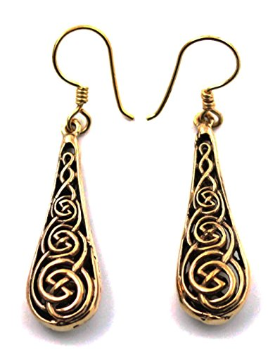 Bronze Celtic Knot Circular Filigree Teardrop Shaped Drop Dangle Earrings Fish Hook Thailand Made Jewelry (Circular Filigree)