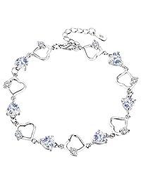 "EleQueen 925 Sterling Silver CZ Love Heart of Ocean Titanic Inspired Tennis Bracelet, 7.2""+1.2"" Extender"