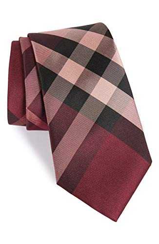 - New Men's Burberry London Pink Modern Cut Check Skinny Silk Tie