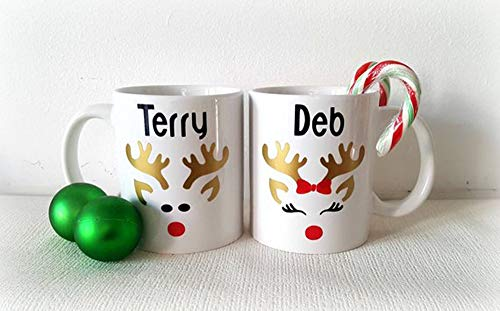 Best quality set of Christmas mugs, Xmas mugs, reindeer mugs, Christmas cups, Christmas eve mugs, hot chocolate mugs, personalised Christmas mugs, fiver Friday