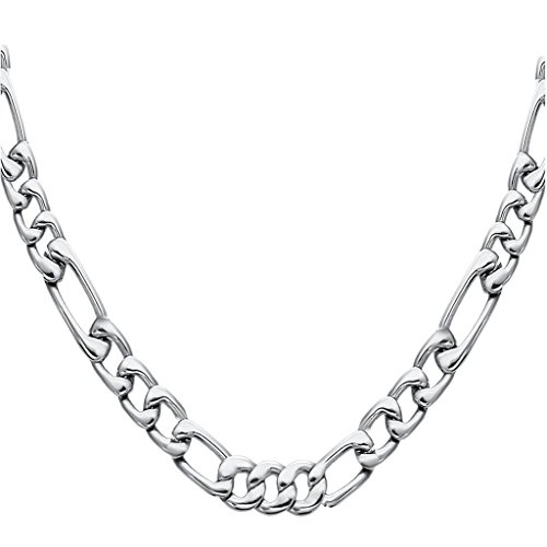 FIBO STEEL Stainless Steel Mens Womens Necklace Figaro Chain 5-9mm Wide, 18-30 inches