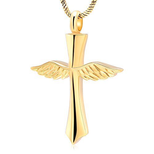 Angel wings Cross Necklace【Memorial Urn Necklace】 Religious Cremation Ashes Keepsake Jewelry Cremation Keepsake Free +20 Inch Chain+fill kit[Sliver] (Gold) by Minicremation