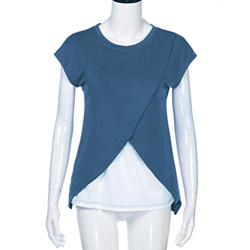 Corte Blue Corte Collo a Maniche Donna U MML a Basic Maniche Magliette UBTOqPwxz