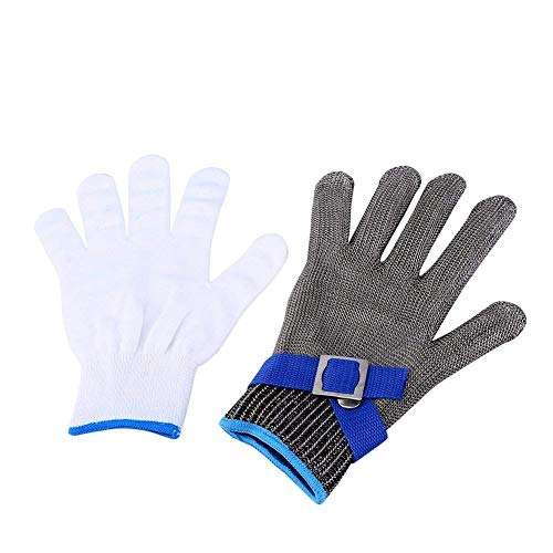 Mesh Glove Metal (Safety Cut Proof Stab Resistant Stainless Steel Metal Mesh Butcher Safety Work gloves Stainless Steel Wire Mesh Gloves - Xlarge(Single Piece))