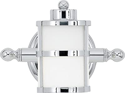 Quoizel Tranquil Bay 6-1/2-Inch Bath Fixture with Opal Etched Glass, Polished Chrome