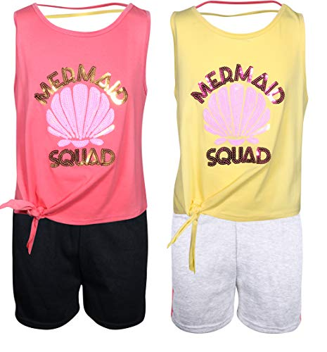 My Destiny Girls' 4-Piece Short Set with Sequin Tops, Mermaid Squad, Size 5/6' ()