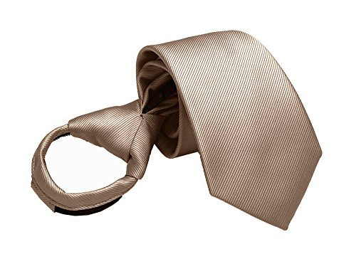 Mens Big Boys Champagne Zip Ties Microfiber Formal uk Neckties Gifts for Husband (Champagne Tie For Boys)