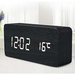 Quality Digital LED Alarm Clock Sound Control Wooden Despertador Desktop Clock USB/AAA Powered Temperature Display (White)