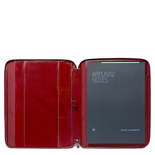 Piquadro A4 Notebook with Zip In Leathe R, Red, One Size by Piquadro