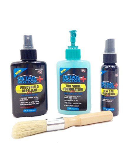 Car Detailing Kit: Car Air Freshener, Tire Shine Gel, Windshield Repellent