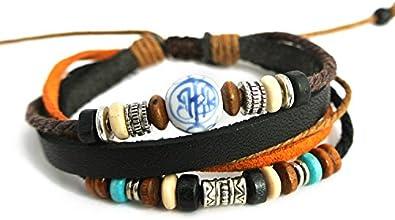 Agathe Creation–Pulsera Tibetain puerta felicidad–Perla Central en cerámica–piel, cáñamo y cuentas de madera, terracota y metal–Multicolor–Talla estándar–hecho a mano