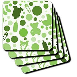 Anne Marie Baugh Baby - Light and Dark Green Baby Pattern Of Bottles, Teddy Bears, and Strollers - Coasters