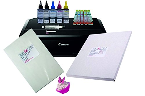 Edible A4 Printer Bundle, Canon IP7250, Refillable Cartridges, Edible Ink,...