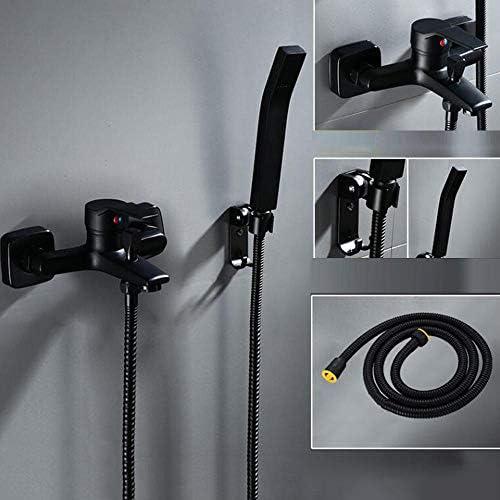 浴槽の蛇口 黒のシンプルなシャワーシャワーバスルームホットとコールドフル銅ボディ蛇口バスタブシャワー-M