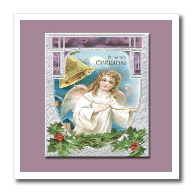 3dRose ht_153280_1 Merry Christmas Angel Ringing Gold Bell, Holly Leaves Berries Lavender-Iron on Heat Transfer for White Material, 8 by 8-Inch