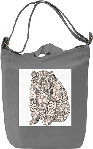 Bear Borsa Giornaliera Canvas Canvas Day Bag| 100% Premium Cotton Canvas| DTG Printing|