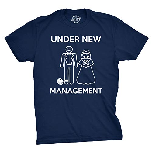 Mens Under New Management Funny Wedding Bachelor Party Novelty Tee for Guys (Navy) - S