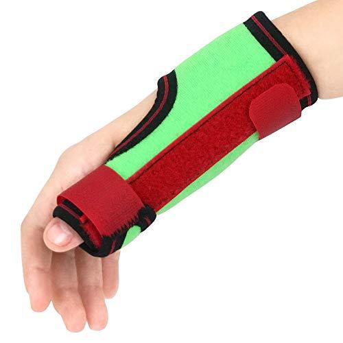 (ORTONYX Kids Thumb Immobilizer Brace Thumb Spica Support Splint- Pain, Sprains, Strains, Carpal Tunnel & Trigger Thumb Stabilizer - Wrist Strap - Left Hand / ACJB2303GRN-L )