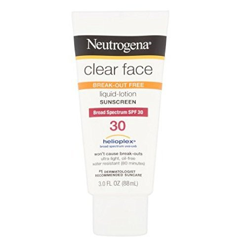 Neutrogena Clear Face Liquid Lotion Sunscreen for Acne-Prone Skin, Broad Spectrum SPF 30, Oil-Free and Fragrance-Free, 3 fl. oz (Pack of 6)