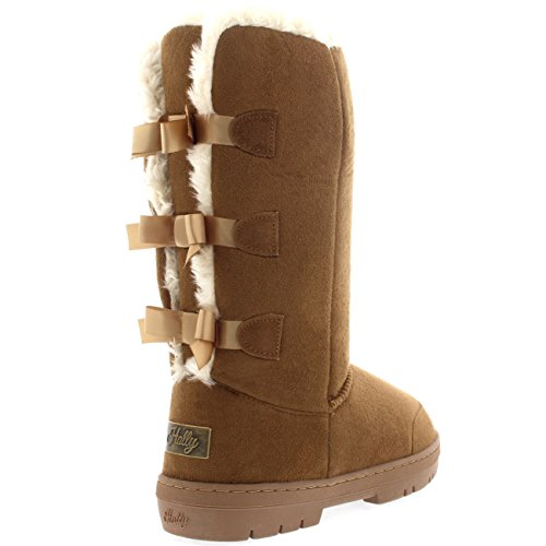 Bow Botas Light Mujer Fur Impermeable Triplet Classic Nieve Rain Tall Tan Invierno 5ZzzCRqO