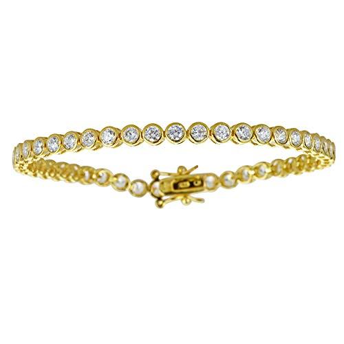 Decadence Women's Sterling Silver Yellow 3mm Round Cut Bezel Set Tennis Bracelet, - Inch 3mm Bezel Round 7