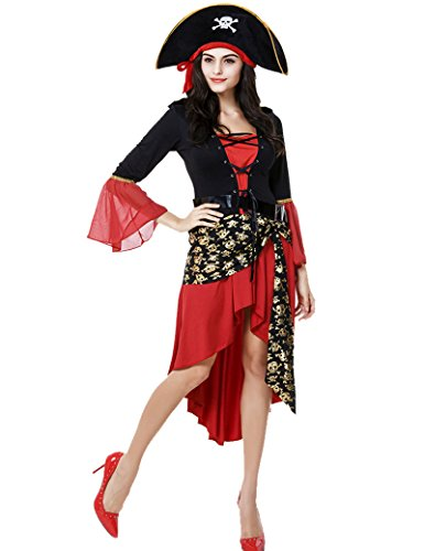 Pirate Costume Women's Classic Pirates of the Caribbean Queen Dress Halloween Costumes Cosplay -