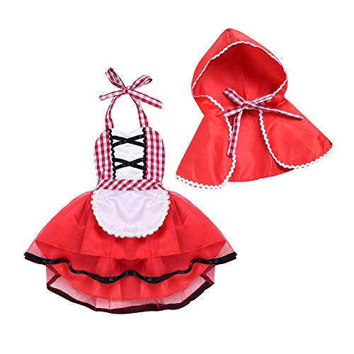 Baby Girls Toddler Little Red Riding Hood Costume Dress with Hoodie Cloak Cape 2pcs Birthday Outfit Set for Christmas Halloween Party Dress up Fancy Photo Shoot Cosplay Red 12-18