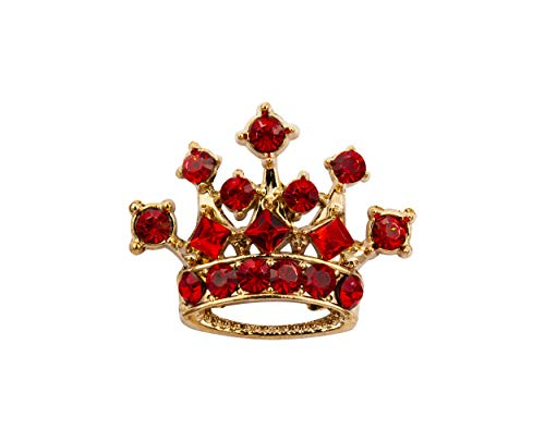 Knighthood Golden Crown with Red Swarovski Detailing Lapel Pin Brooch Shirt Stud for Men