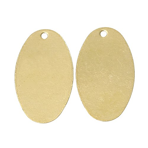 PEPPERLONELY Brand 50PC Copper Blank Stamping Tags Pendants Oval Light Golden 23.0mm x 14.0mm
