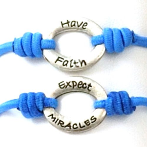 Toc Bandz Blue Have Faith.Expect Miracles 6 Inch Stretch Love Bracelet