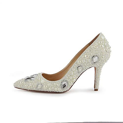 White Zapatos para tacón con Altos Mujeres Alto Aguja de Tacones de UfUWqwAg1x