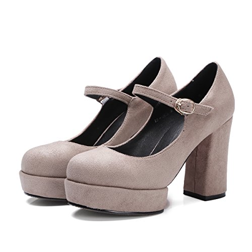 Pointed Dress AIWEIYi Strap Square Shoes Ankle Pumps Women apricot High Platform Toe Heel q6wXpRW6