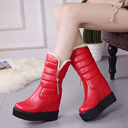 Sale Mid Winter Winter Bluestercool Muffin Shoes Boot Warm Increase Round Boots Head Womens Boots Velvet Bottom Red Ladies w7dwxrE0q