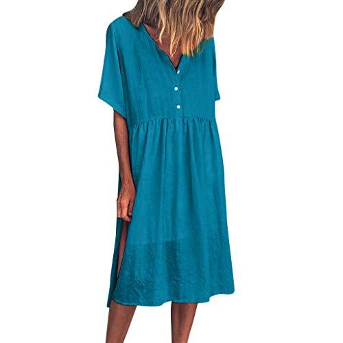 NANTE Top Casual Loose Dress Pure V-Collar Short Sleeve Long Dresses Women's Sundress Beachwear Womens Length Skirt (Blue, XL) ()