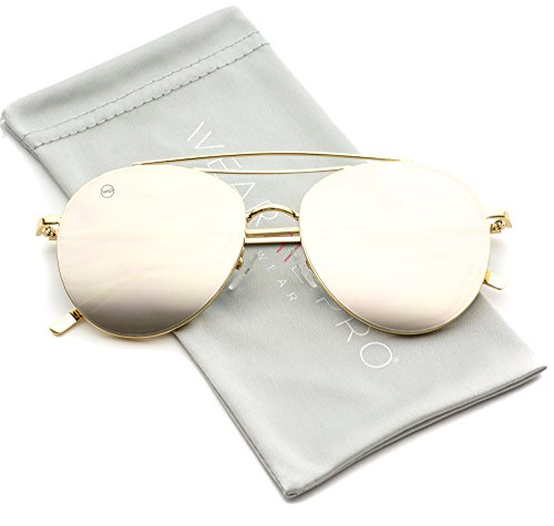 WearMe Pro - Modern Round Double Wire Aviator Sunglasses (Gold Frame / Mirror Pink, - Mirror Aviator Gold Sunglasses