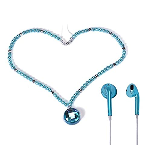 Binmer(TM)Bling Pearl Necklace Stereo Wireless Bluetooth Earphones Headset Headphone for Cell Phone Great Gift for Women with Bag (Bling Bluetooth Headset)