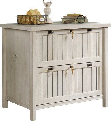 2-Drawer Lateral File Cabinet Fineshed in Chalked Chestnut White Color Elegant Drawers with Full Extention Stores Letter Size Files by AVA Furniture