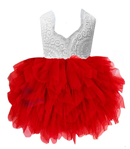 2Bunnies Girl Peony Lace Back A-Line Tiered Tutu Tulle Flower Girl Dress (Red Sleeveless, 7-8YRS) -
