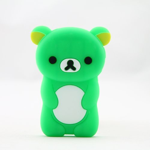 Generation Silicone Skin - Phaetonnice 3D Cute Bear Silicone Skin Case Cover for Apple iPod Nano 7th Generation 7G - Green