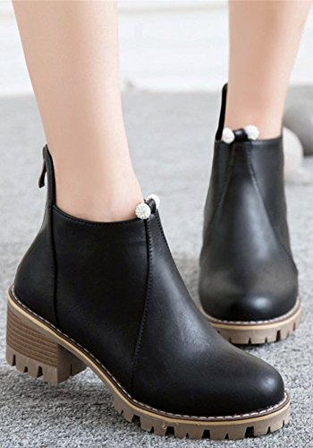 Idifu Womens Dressy Chunky Mid Heels Punta Tonda Zip Up Chelsea Short Alti Stivali Alla Caviglia Neri