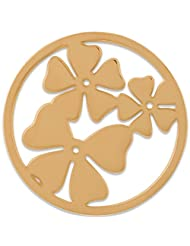 MS Koins Stainless Steel Clover Leaves Coin Yellow Gold Plated Fits Our Coin Locket System, 30mm Diameter