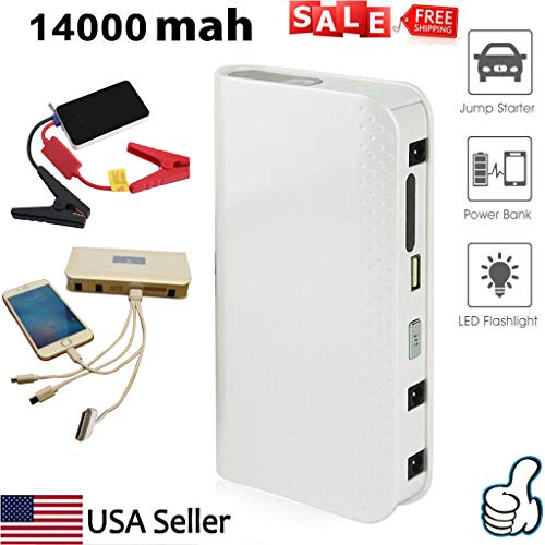 Kit Phone Emergency - Promotional White 14000mAh Car Jump Starter Battery Charger Portable Power Bank Booster Emergency Battery Charger Auto Kit High Rechargeable Power Socket for iPhone,Samsung Smartphone