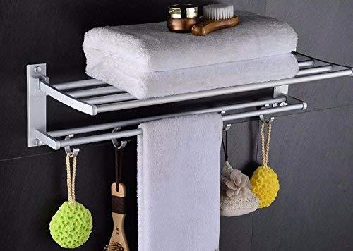 Yetta Home Bad Hardware Handtuchhalter Schiene Wand Bad Dusche Regal Organisator Aluminium Faltbare 60 cm
